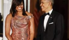ميشيل أوباما برّاقة بفستان مخصص لها من Versace