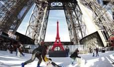 بالصور- برج إيفل يفتتح حلبة للتزلج على الجليد