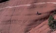بالفيديو-شاب يسير بدراجته على منحدرات جبلية خطرة
