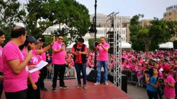 هند صبري في ماراثون الجري من أجل التوعية عن مرض السرطان