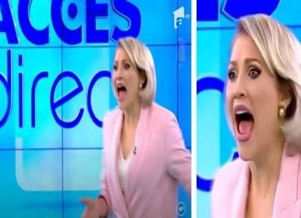 بالفيديو- إمرأة عارية تقتحم الستوديو لقتل مقدمة البرنامج التلفزيوني