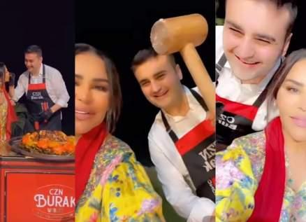 بالفيديو- أحلام تستقبل الشيف بوراك في منزلها وابنتها لولوة تخطف الأنظار