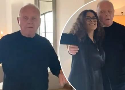 بالفيديو- بعد فوزه بجائزة الأوسكار.. سلمى حايك ترقص مع أنتوني هوبكنز