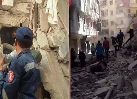 نجاة 5 تلاميذ بأعجوبة بعد انهيار عقار محرم بك في مصر