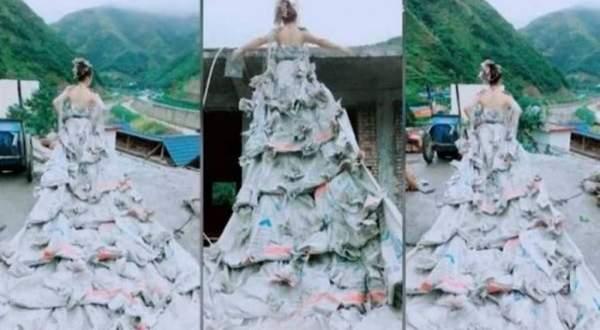 فتاة تختار فستان زفافها من الإسمنت وهكذا كانت النتيجة.. بالفيديو