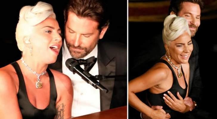 برادلي كوبر يضع يده على صدر ليدي غاغا فكيف كانت ردة فعل حبيبته؟