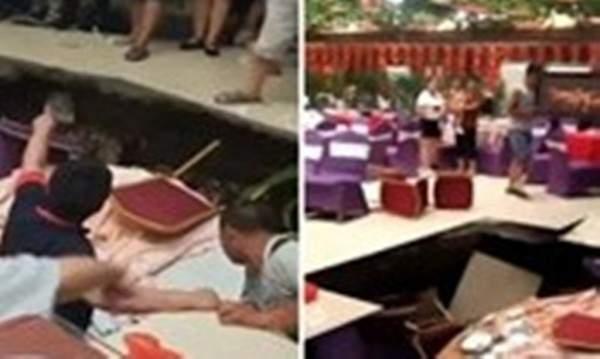 حفرة تبتلع المدعوين في حفل زفاف.. بالفيديو