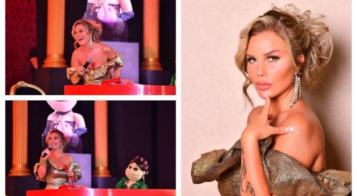 نيكول سابا تبهر الجمهور بإطلالة ذهبية جريئة وأبلة فاهيتا تغازلها-بالصور