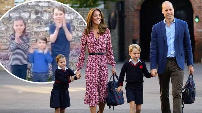بالفيديو- أولاد الأمير وليام وكايت ميدلتون يخطفون القلوب في موجة التصفيق البريطانية