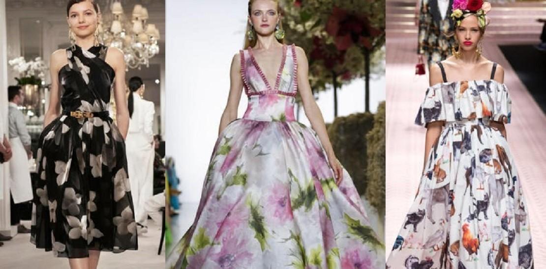 الفساتين الموردة والمنقوشة تسيطر على موضة صيف 2019