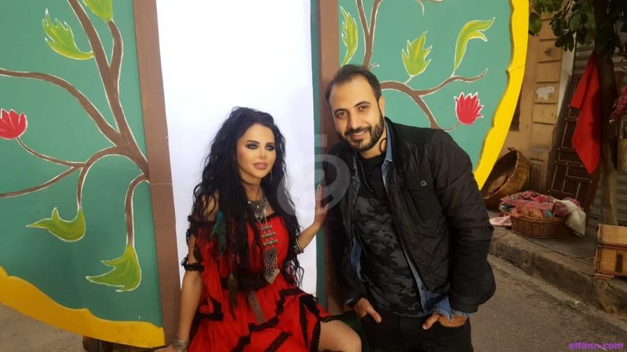 """خاص بالصورة- ليال عبود تصور كليب """"يا عنب يا مشمش"""" مع أحمد المنجد"""