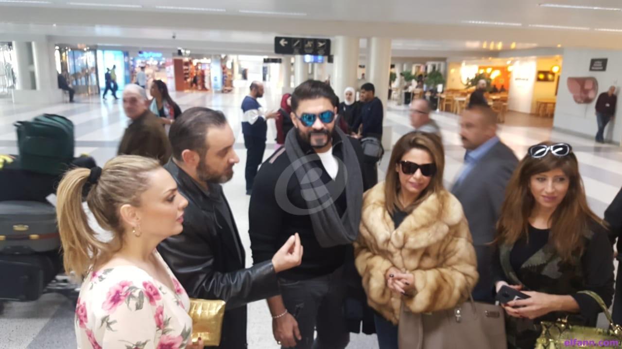 خاص بالصور- وصول خالد زكي وخالد سليم وطارق لطفي وأيمن قنديل إلى لبنان