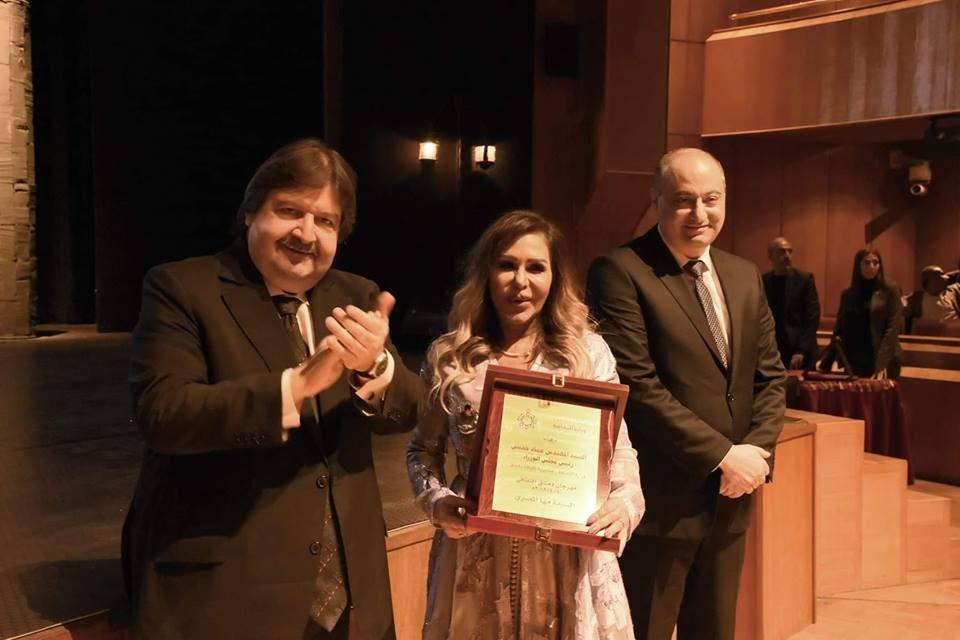 بالصور- تكريم مها المصري ووفاء موصللي ومحمد الشماط في مهرجان دمشق الثقافي